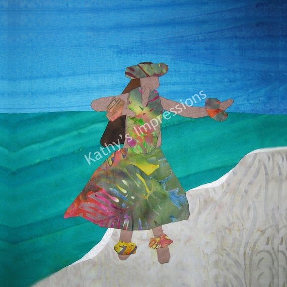 HULA DANCER Blue Sky Fabric Quilt Square Hawaiian Beach Batik Panel Block Luau Ocean Dancing Organic Cotton Sateen