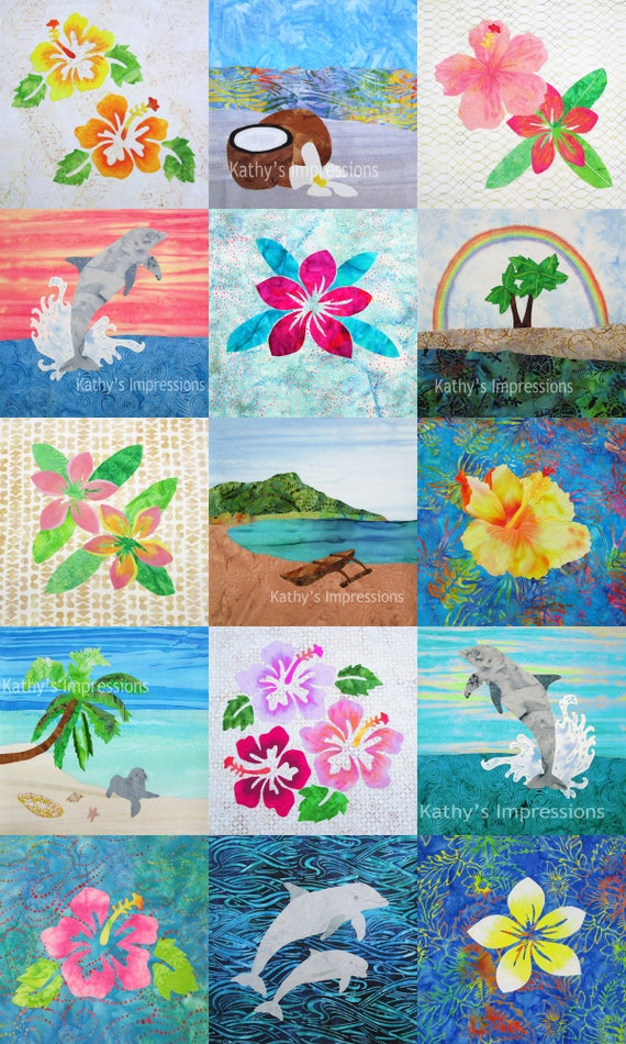 Hawaiian Tropical Beach Wholecloth Cheater Quilt Top Cotton Fabric Panel~ Oahu Hawaii Wholecloth Fabric Panel Baby Quilt Wall Hanging DIY