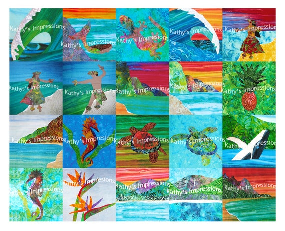 SALE - Tropical Beach Hawaiian Fabric Quilt Square, Regular Color Fastness (Not Ultra) - Sea Life Landscapes - Fabric to Make Face Masks