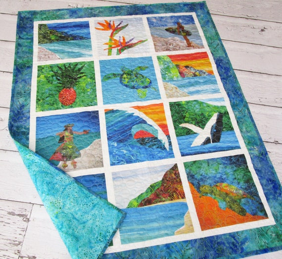 HAWAIIAN Hula Dancer Surfer Girl Modern Baby Quilt~ Tropical Beach Sea Turtle Whale Seahorse Wave Quilted Wall Hanging or Baby Quilt