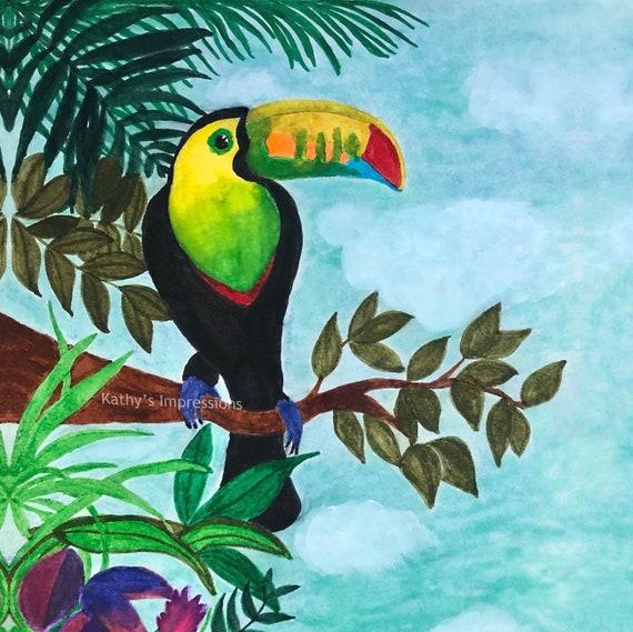 Tropical TOUCAN Fabric Quilt Panel Colorful Bird Rainforest~ Parrot Forest Fabric Quilt Square Block