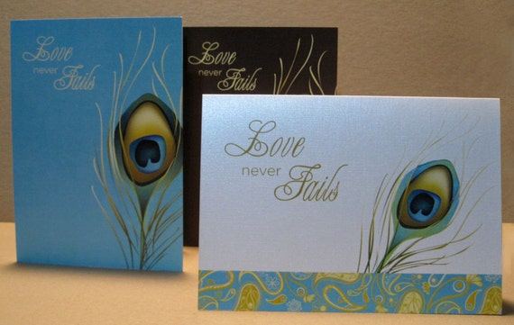 LOVE Never Fails Note Card, Peacock Feather Wedding card, Love Never Fails Valentine's Day card, I'm sorry card, Christian card, Set