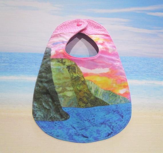 Na Pali Coast Watercolor Sunset Baby Girls Bib Pink Pastels ~ Hawaii Beach Paradise Cotton Flannel Bib Baby Shower Gift