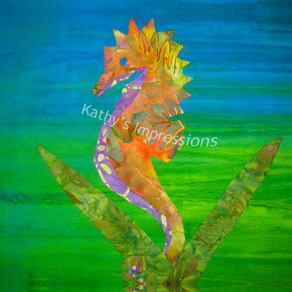 Tropical SEAHORSE Neon Orange Blue Green Colors Organic Cotton Sateen Batik Fabric Quilt Square Panel Block Hawaii