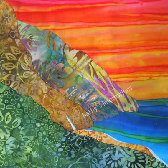 NA PALI COAST Brilliant Orange Sunset Fabric Square Waterfall Beach Quilt Panel Tropical Kauai Hawaii
