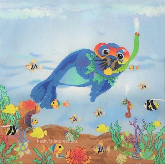 Kids SEAL Ocean Reef Tropical Fish Beach Fabric Quilt Square ~ Sea Lion Snorkeling Ocean Fabric Panel Girls Boys