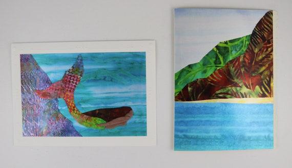 Tropical Beach Note Cards, Hawaiian Beach Sea Turtle Mermaid Bird of Paradise Note Cards, Na Pali Coast Sunset Note Cards