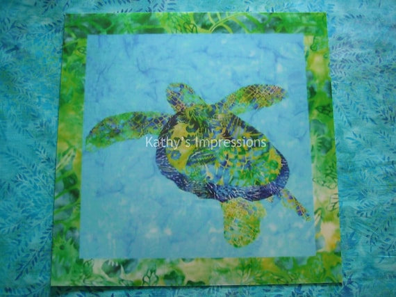 10x10 Tropical Hawaiian Honu SEA TURTLE Green and Blue Batiks - Premium Metallic Photo Print