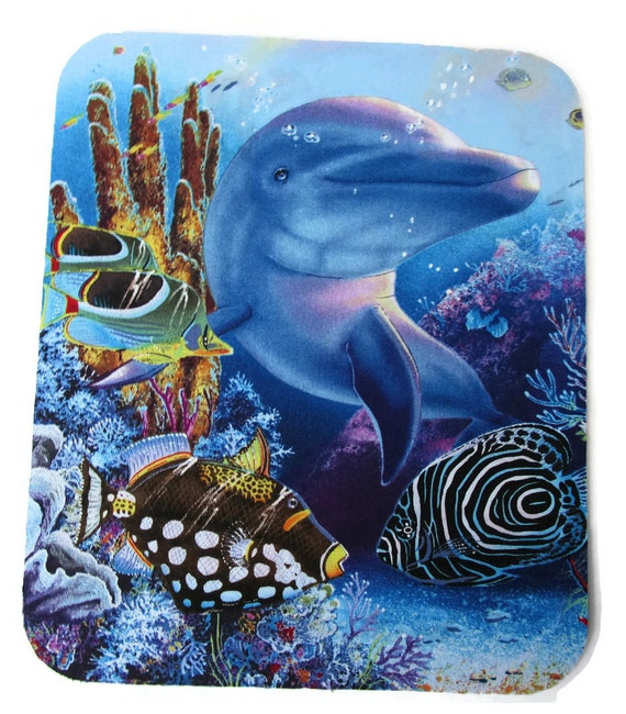 Beautiful Dolphin, Tropical Fish, Underwater Reef~ Fabric Mouse Pad w/ Painted Accents