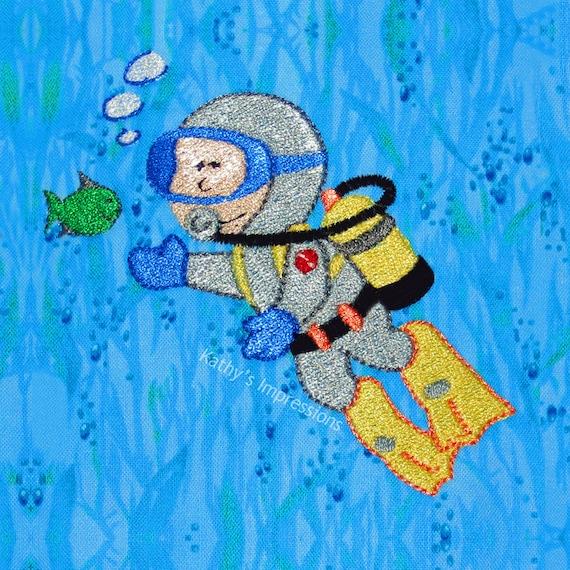 SCUBA DIVER Boy Fabric Blue Ocean Water Bubbles Sea Grass Green Tropical Fish ~ Scuba Diver Fabric Square, Panel or FQ