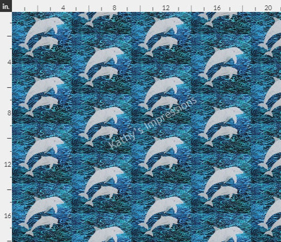 Two Dolphins Swimming Fabric Ocean Beach Coastal Under the Sea~ Quilter's Weight Cotton FQ
