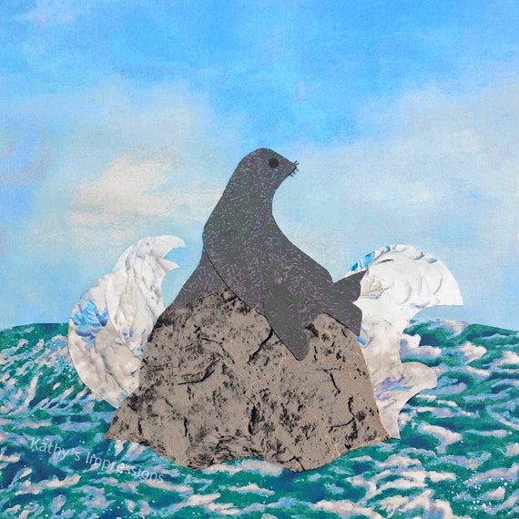 SEAL Chillin' Fabric Quilt Square~ Sea Lion Sitting on Rock Beach Ocean Waves Splashing Fabric Panel~ Coastal Seal Fabric