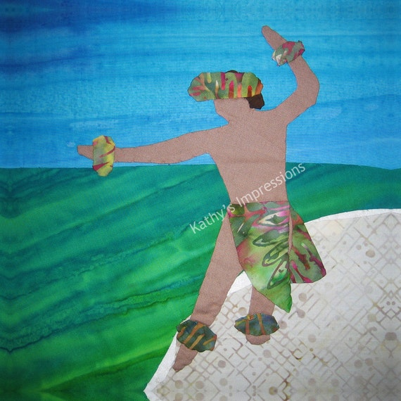 Hawaiian Male HULA DANCER Fabric Quilt Square Beach Organic Cotton Sateen Batik Panel Block Luau Ocean Dancing