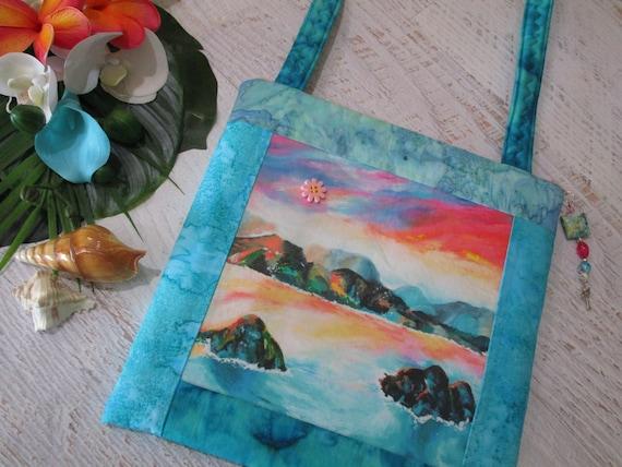 Watercolor Lanikai Beach Shoulder Bag Oahu Hawaii Tropical Sunset ~ Hawaiian Beach Batik Purse ~ Tropical Beach iPad Bag