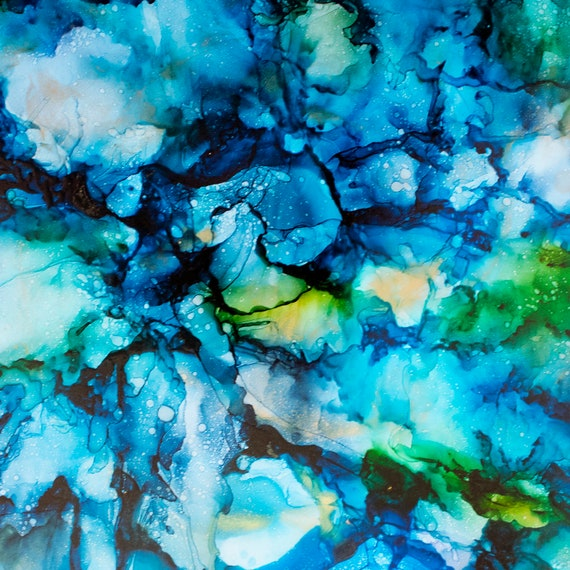 WATERCOLOR OCEAN Water Tsunami Fabric Water Coastal Seaside Tropical Beach Alcohol Ink~ Fabric Quilt Square or Panel