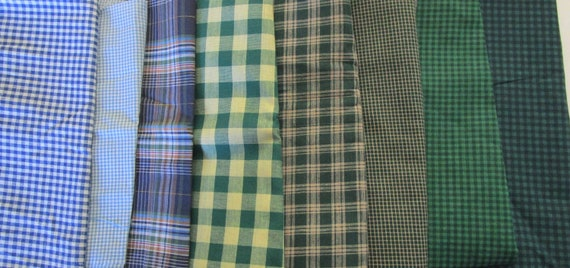 Set of (8) GINGHAM Checked Plaid Cotton Fabrics Lot~ Green and Blue~ For Quilting~ 6.35 Yards
