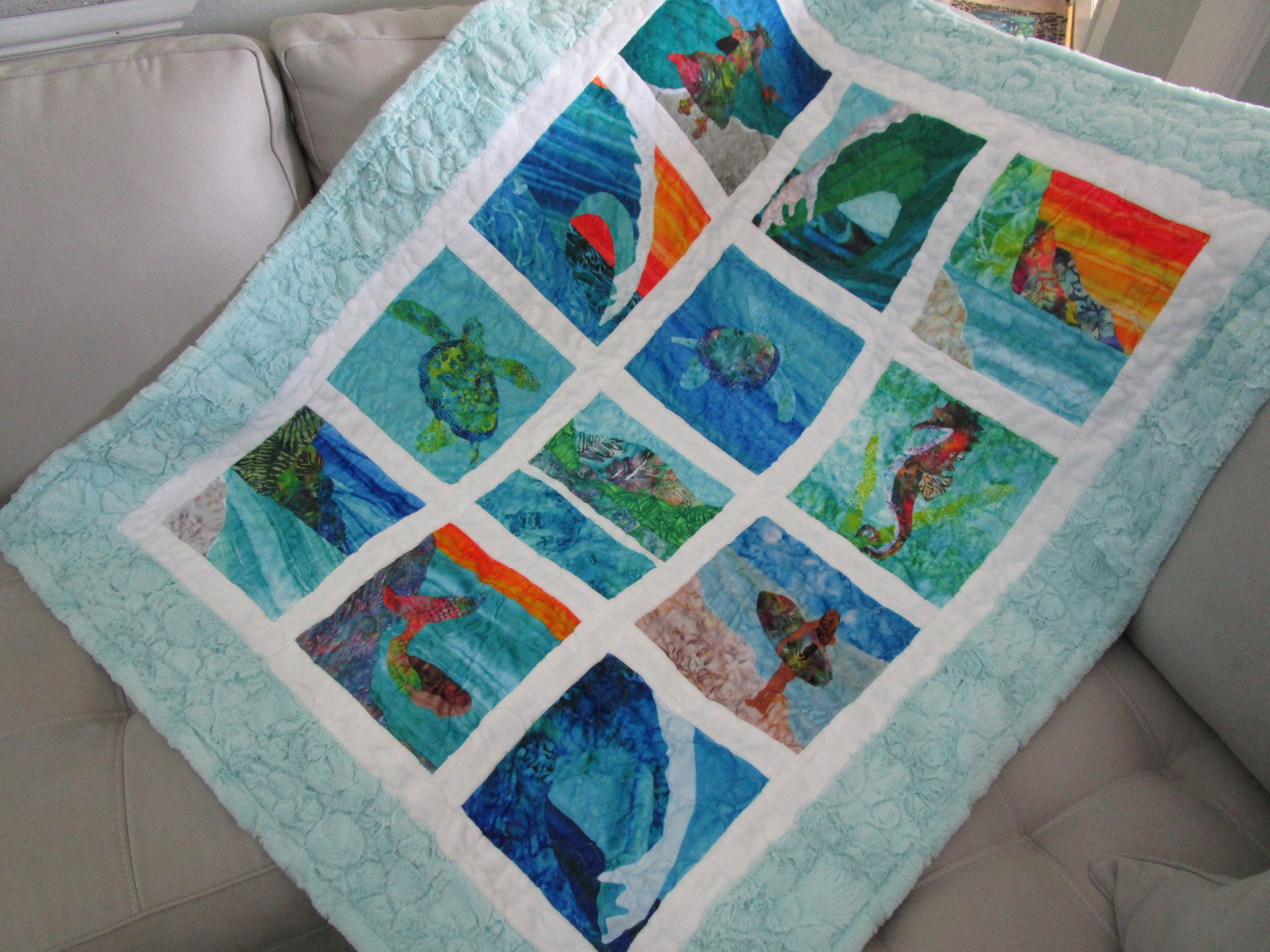 surfer girl beach ocean surfboard fabric quilt square panel