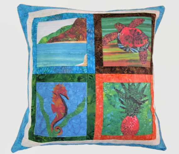 "Tropical BEACH Sea Turtle Pillow Cover Seahorse Pineapple Blue Fabric Case~ Fits 17"" Pillow Form"