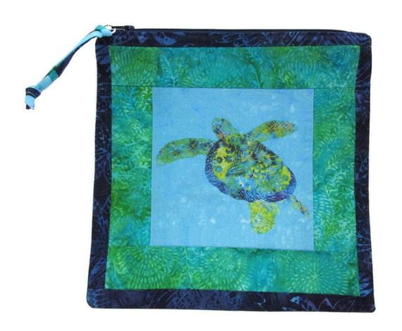 Sea Turtle Tall Zipper Pouch Batiks Cosmetic Bag Organize Supplies Hawaii Coastal Beach Ocean Padded Case