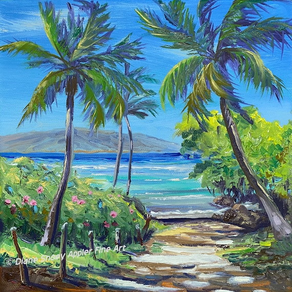 Beach Path Palm Trees Fabric Quilt Square Anticipation Swimming in Turquoise Ocean ~ Day at the Beach Ocean Fabric Panel Hawaii Maui