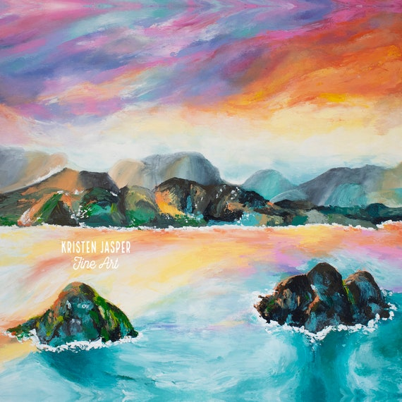 Lanikai Beach Hawaii Fabric Quilt Panel Kailua Oahu Sunset Mountains Lava Rocks One of Most Beautiful Beaches in World