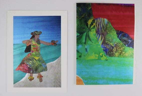 Hawaiian Hula Dancer Note Cards, Hawaiian Beach Sunset Note Cards, Na Pali Coast Kauai Sunset Note Cards