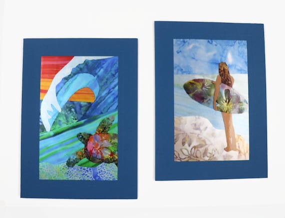 Surfer Girl Beach Note Cards, Surfer Ocean Hawaiian Coastline Cards, Surfing Surfboard Beach Note Cards, Surf's Up Note Cards
