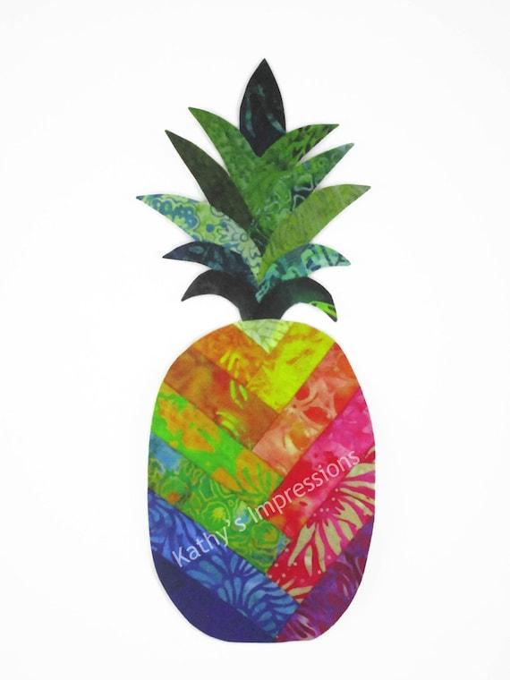 "Pineapple Applique, Fabric Applique, Hawaiian Applique, Tropical Fabric Applique with Fusing, Hawaiian Pineapple, Tall 11"" x 4.5"""