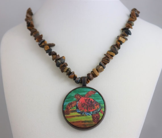 Sea Turtle Brown Pendant Necklace Tropical Beach Hawaii - Tropical Artisan Necklace Gemstone Chips Beaded