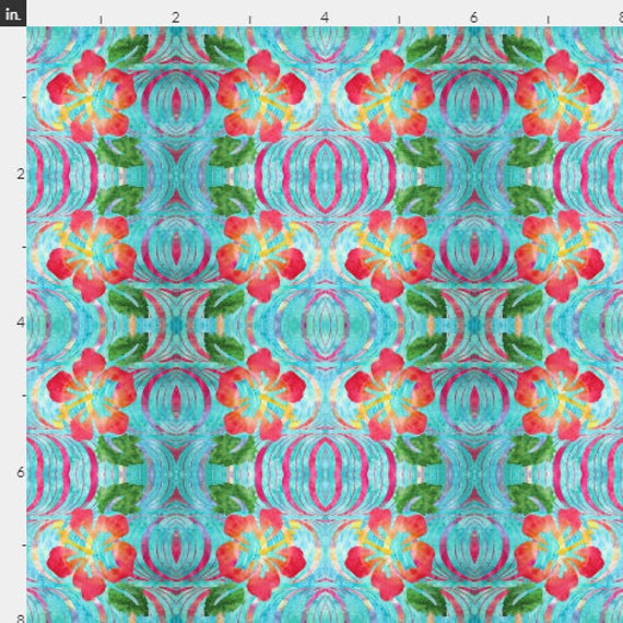 Tropical Hibiscus Flowers Fabric Coastal Floral Orange Peach Blue Green~ Quilter's Weight Cotton BTY, BTHY, FQ