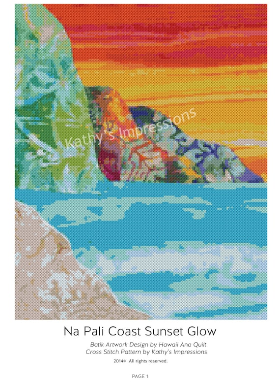 Cross Stitch Pattern Hawaiian Kauai NA PALI Coast Sunset Glow~ Digital PDF Instant File to Download and Print