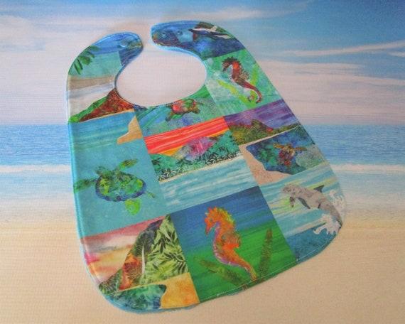 Sea Turtle Beach Seahorse Dolphin Hawaiian Baby Bib Girls Boys ~ Tropical Beach Mountains Sea Life Cotton Minky Bib Baby Shower Gift