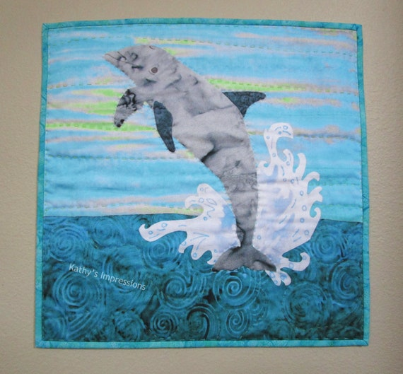 Dolphin Fabric Art Quilt Wall Hanging or Pillow Cover~ Coastal Dolphin Tropical Beach Art Quilt Big Stitch Hand Quilted~ 18""