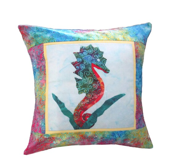 "Colorful SEAHORSE Pillow Cover Tropical Beach Ocean Coastal Hawaii ~ Fits 18"" Pillow Form"