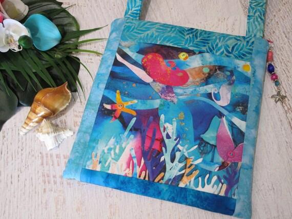 Beautiful MERMAID Batik Watercolor Shoulder Bag~ Tropical Mermaid Underwater Ocean Seahorse Coral Reef Purse~ Mermaid Lover iPad Bag
