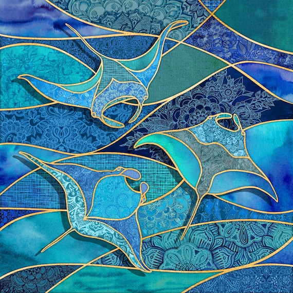 MANTA RAYS Ocean Stained Glass Watercolors Fabric BTY~ Tropical Blue Green Fabric Manta Ray Coastal Beach Hawaii Patchwork By The Yard