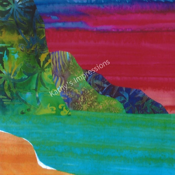 "NA PALI COAST Red Sunset - 10.5"" Organic Cotton Sateen Batik Fabric Quilt Panel Block- Tropical Kauai Hawaii"