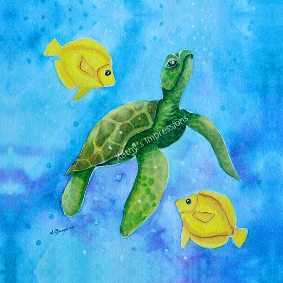 Honu SEA TURTLE Fabric Quilt Square Yellow Angel Fish Ocean Bubbles Hawaii Watercolor Panel
