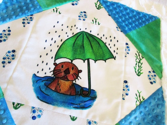 Choice of SEA OTTER Fabric Quilt Square Umbrella Rain Panel or Baby MINKY Blanket Kit
