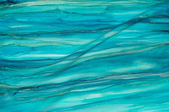 Beach Watercolors Turquoise Green Blue Ocean Water Fabric Give Me The Blues Alcohol Ink~ Organic Cotton Fabric Quilt Square or Panel