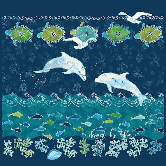 Dolphin Sea Turtle Fish Fabric Panel Ocean Beach~ Tropical Beach Dolphins Fabric Quilt Square Coastal Seashore Green Blue Ocean