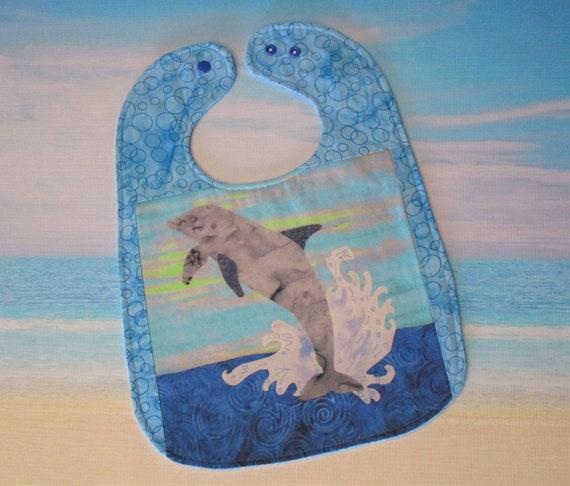 Dolphin Jumping Splashing Ocean Baby Bib Girls Boys ~ Tropical Beach Ocean Dolphin Bib Baby Shower Gift