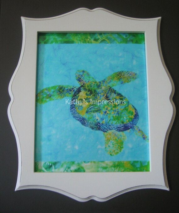 16x20 Hawaiian Honu SEA TURTLE Photo Print Green and Blue Batiks Premium Metallic Shimmer
