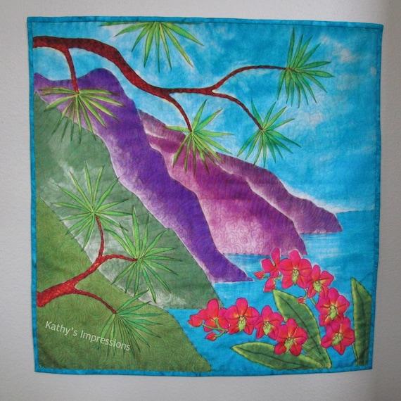 "Hawaiian Beach Fabric Art Quilt Velvet Wall Hanging~ Colorful Na Pali Coast Art Quilt Kauai Hawaii Orchids Big Stitch Hand Quilted~ 23"""