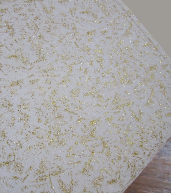 Gold BLING Fairy Frost Michael Miller Shimmer Fabric ~ Cream Cotton Gold Metallic Glitter Accents Fabric