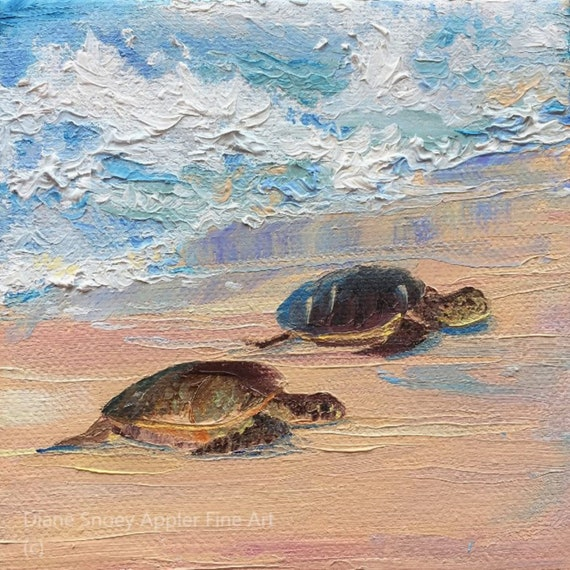 Sea Turtle Babies on Beach Sand Fabric Quilt Square~ Hawaiian Honu Keiki Fabric Panel Ocean Waves Splashing ~ Coastal Sea Turtle Fabric