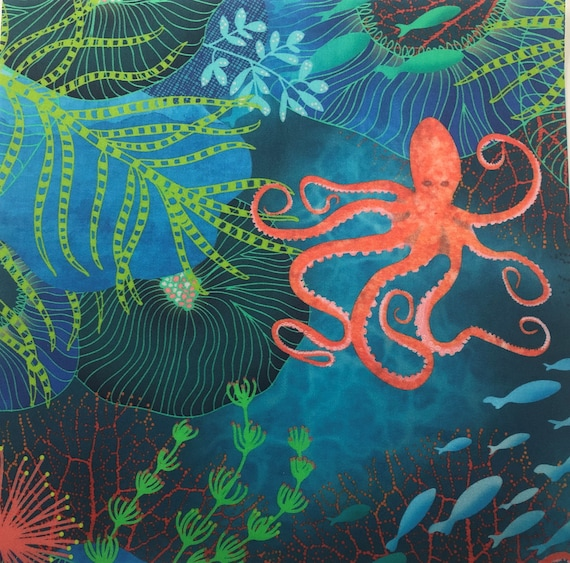 OCTOPUS Under the Sea Fabric Panel Ocean Fish ~ Octopus Fabric Quilt Square Panel ~ Sea Anemone, Coral Reef, Sea Grass Fabric