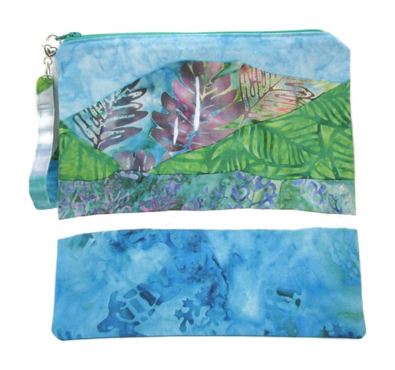 Hawaiian Zipper Bag, Zipper Pouch, Make Up Bag, Zippered Pouch, Large Zipper Pouch, Tropical Beach Bag, Beach Makeup Bag