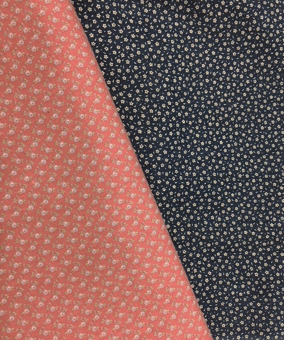Set of (2) CALICO Small Flowers Vintage Cotton Fabric Floral Lot for Quilting~ Rose Peach & Dark Blue~ 2.5 Yards Total