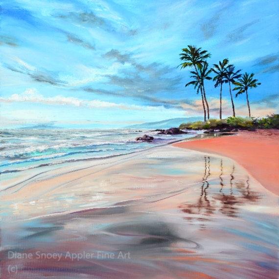 Wailea Reflections Maui Beach Fabric Quilt Square~ Hawaiian Beach Dreamy Reflections Ocean Waves Palm Trees Fabric Panel